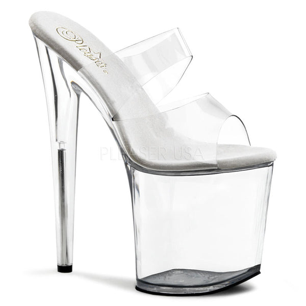 PLEASER FLAMINGO-802 Clear Platform Slides - Shoecup.com - 1