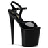 PLEASER FLAMINGO-809 Black Pat Ankle Strap Sandals - Shoecup.com