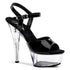 PLEASER KISS-209 Black Pat-Clear Platform Sandals - Shoecup.com