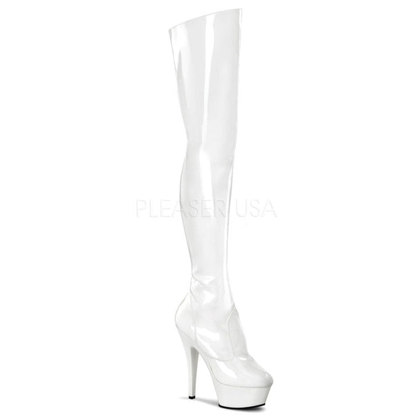 PLEASER KISS-3010 White Thigh High Boots - Shoecup.com