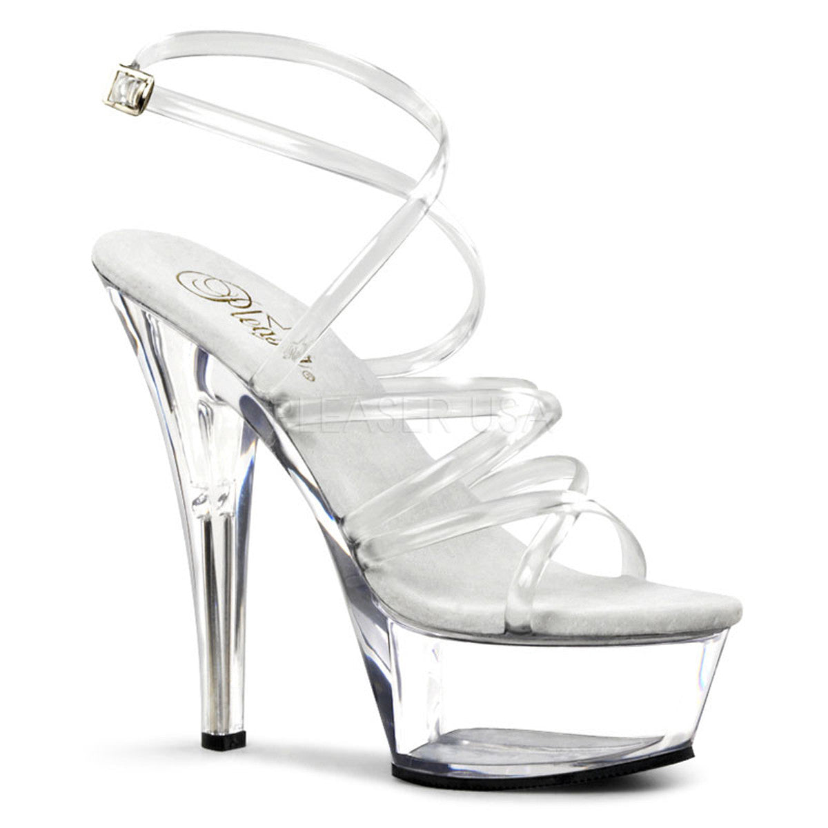 PLEASER KISS-206 Clear Platform Sandals - Shoecup.com
