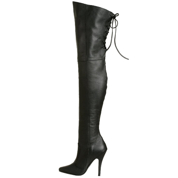 PLEASER LEGEND-8899 Black Leather Thigh High Boots - Shoecup.com - 3