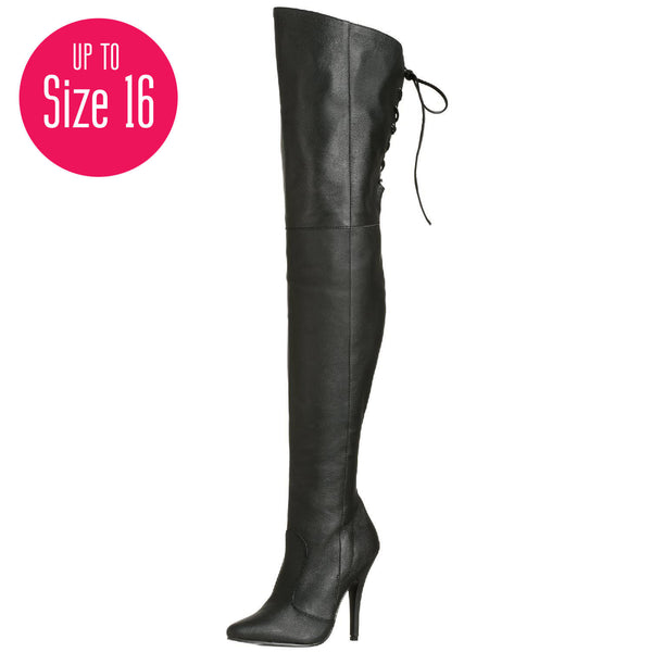 PLEASER LEGEND-8899 Black Leather Thigh High Boots - Shoecup.com - 1