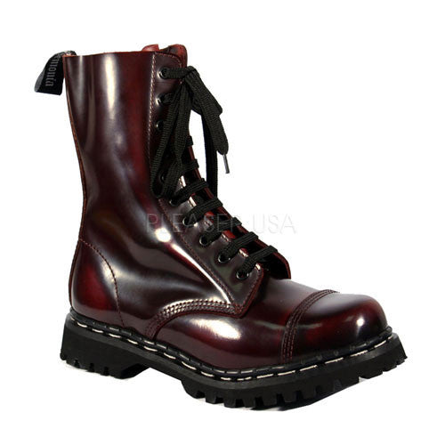 DEMONIA ROCKY-10 Men's Burgundy Rub-Off Leather Steel Toe Boots