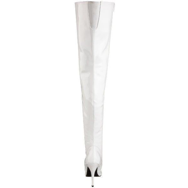 PLEASER SEDUCE-3010 White Pat Thigh High Boots - Shoecup.com - 4