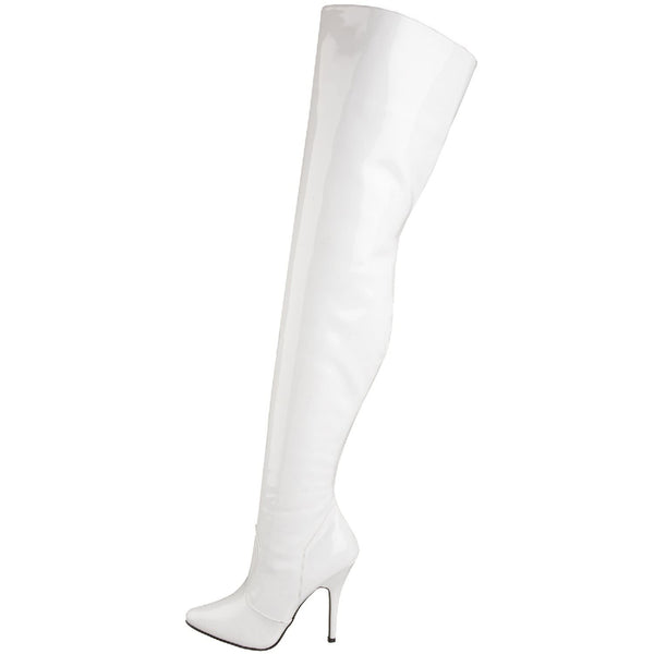 PLEASER SEDUCE-3010 White Pat Thigh High Boots - Shoecup.com - 5