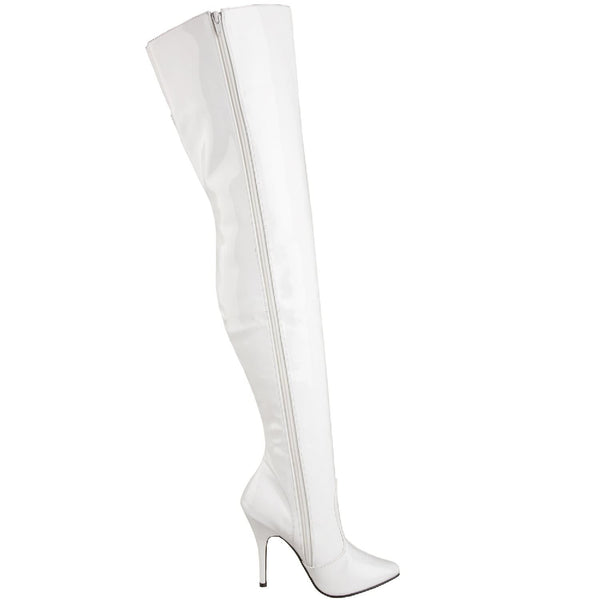 PLEASER SEDUCE-3010 White Pat Thigh High Boots - Shoecup.com - 6