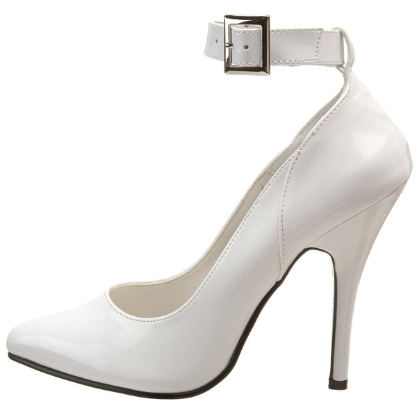 PLEASER SEDUCE-431 White Pat Ankle Strap Pumps - Shoecup.com - 4