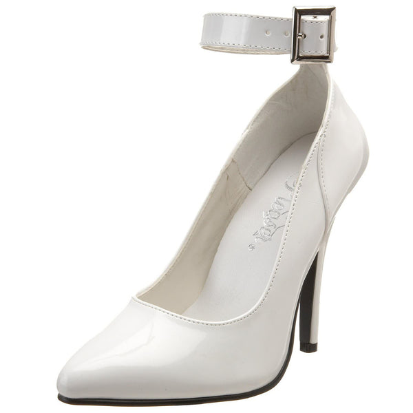 PLEASER SEDUCE-431 White Pat Ankle Strap Pumps - Shoecup.com - 1