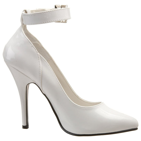 PLEASER SEDUCE-431 White Pat Ankle Strap Pumps - Shoecup.com - 5