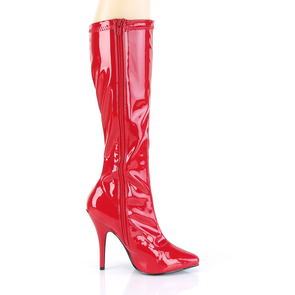 Pleaser SEDUCE-2000 Red Stretch Patent Knee High Boots