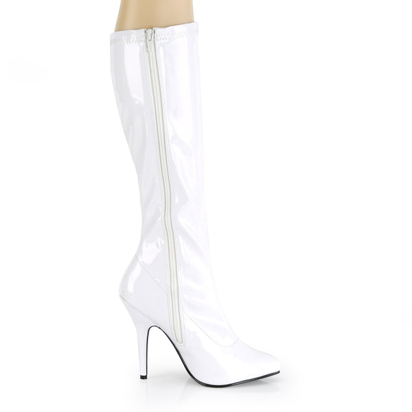 Pleaser SEDUCE-2000 White Stretch Patent Knee High Boots