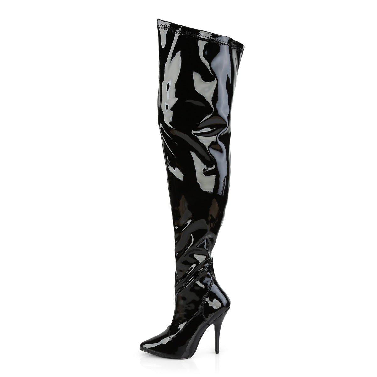 """Seduce 3000 Wide Calf 5/"""" High Heel Thigh High Boots 6-16 Red Or Black Patent"""