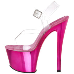 PLEASER SKY-308 Clear-Hot Pink Chrome Ankle Strap Sandals - Shoecup.com - 5