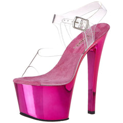 PLEASER SKY-308 Clear-Hot Pink Chrome Ankle Strap Sandals - Shoecup.com - 2