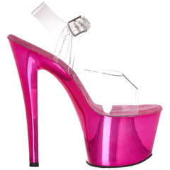 PLEASER SKY-308 Clear-Hot Pink Chrome Ankle Strap Sandals - Shoecup.com - 6