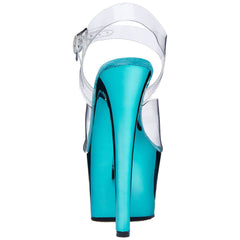 PLEASER SKY-308 Clear-Turquoise Chrome Ankle Strap Sandals - Shoecup.com - 4