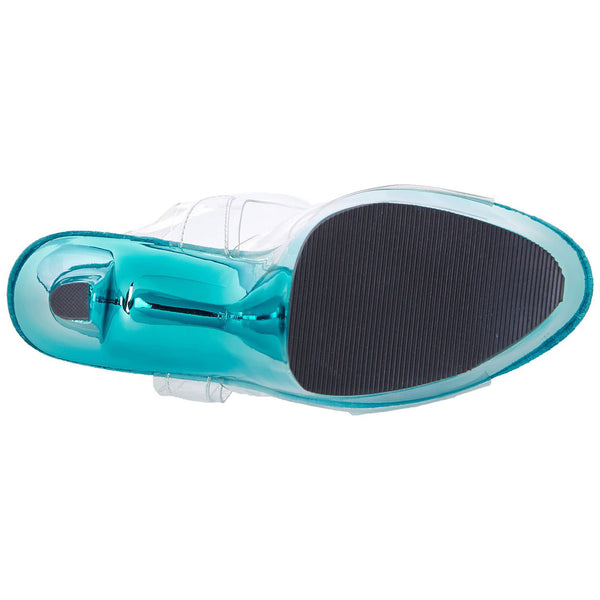 PLEASER SKY-308 Clear-Turquoise Chrome Ankle Strap Sandals - Shoecup.com - 8