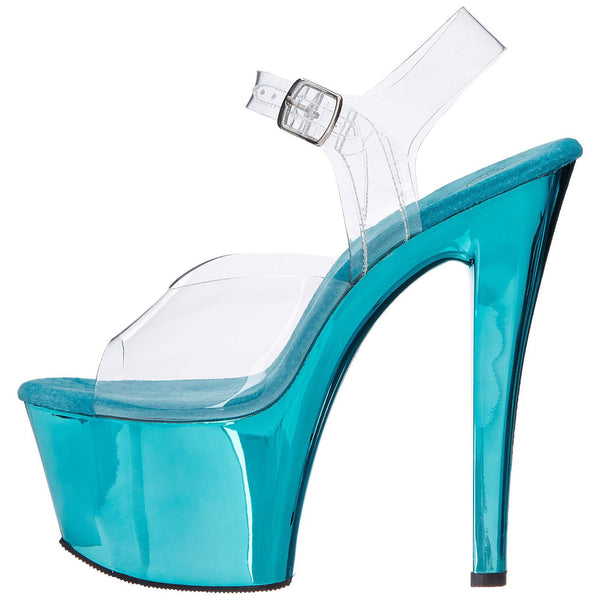 PLEASER SKY-308 Clear-Turquoise Chrome Ankle Strap Sandals - Shoecup.com - 5