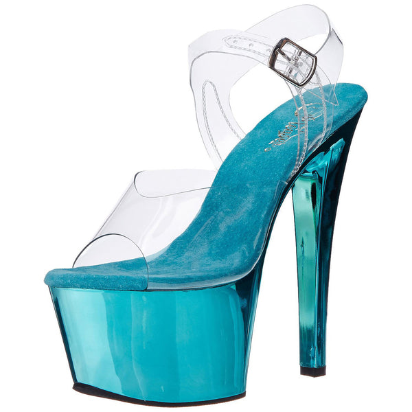PLEASER SKY-308 Clear-Turquoise Chrome Ankle Strap Sandals - Shoecup.com - 2