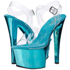 PLEASER SKY-308 Clear-Turquoise Chrome Ankle Strap Sandals - Shoecup.com - 1