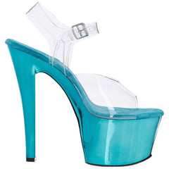 PLEASER SKY-308 Clear-Turquoise Chrome Ankle Strap Sandals - Shoecup.com - 6