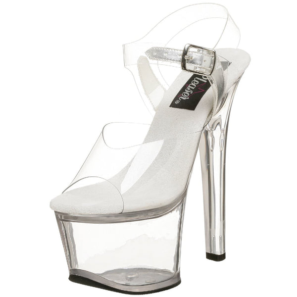 PLEASER SKY-308 Clear Ankle Strap Sandals - Shoecup.com - 1