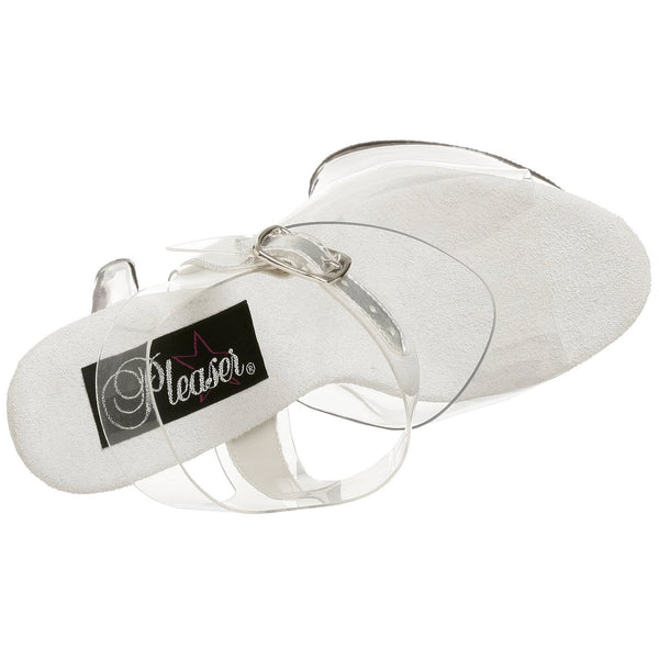 PLEASER SKY-308 Clear Ankle Strap Sandals - Shoecup.com - 6
