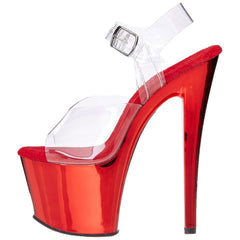PLEASER SKY-308 Clear-Red Chrome Ankle Strap Sandals - Shoecup.com - 5