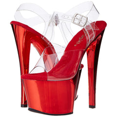 PLEASER SKY-308 Clear-Red Chrome Ankle Strap Sandals - Shoecup.com - 1