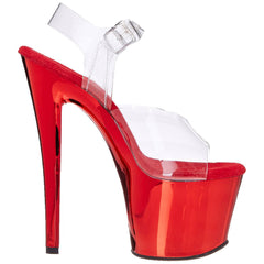 PLEASER SKY-308 Clear-Red Chrome Ankle Strap Sandals - Shoecup.com - 6