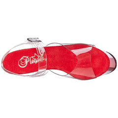 PLEASER SKY-308 Clear-Red Chrome Ankle Strap Sandals - Shoecup.com - 7