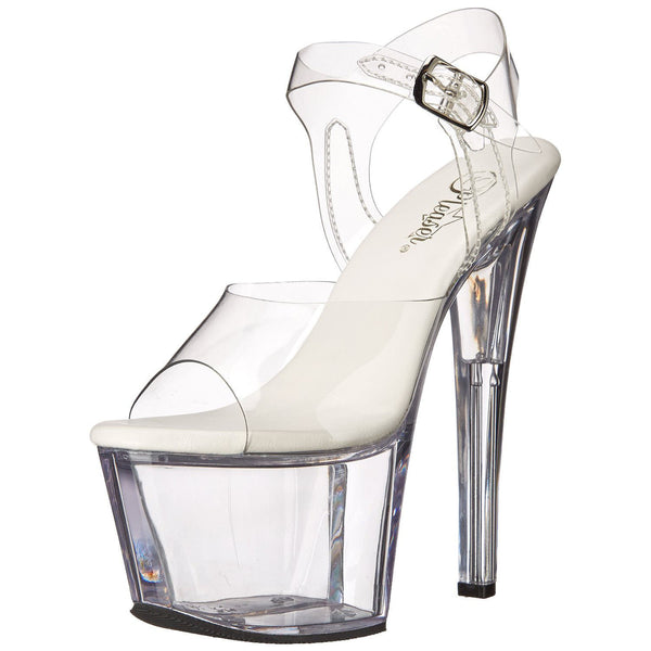 Pleaser SKY-308VL Clear Ankle Strap Sandals - Shoecup.com - 1