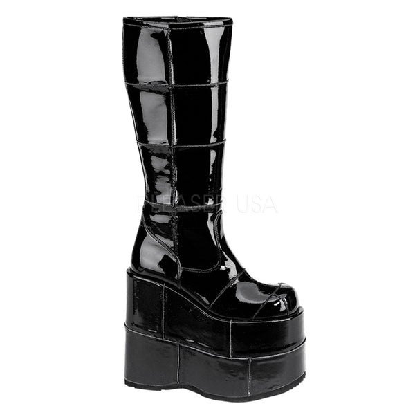 DEMONIA STACK-301 Men's Black Pat Vegan Boots - Shoecup.com - 1