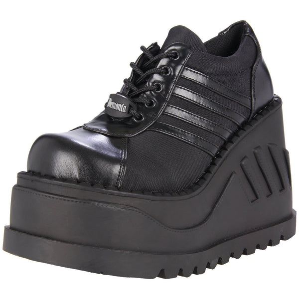 Demonia,DEMONIA STOMP-08 BLACK CHUNKY PLATFORM SHOES - Shoecup.com