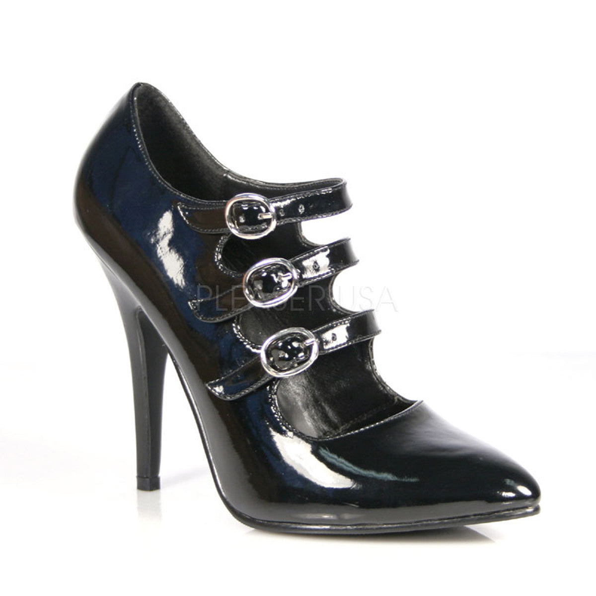 PLEASER SEDUCE-453 Black Pat Mary Jane Pumps - Shoecup.com