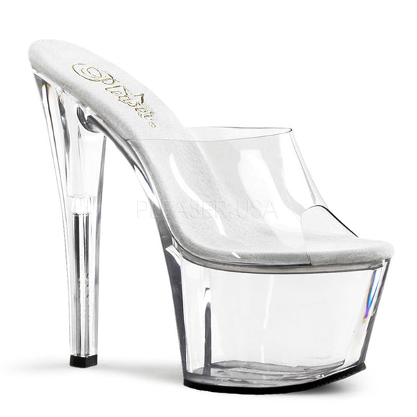 PLEASER SKY-301 Clear Platform Sandals - Shoecup.com