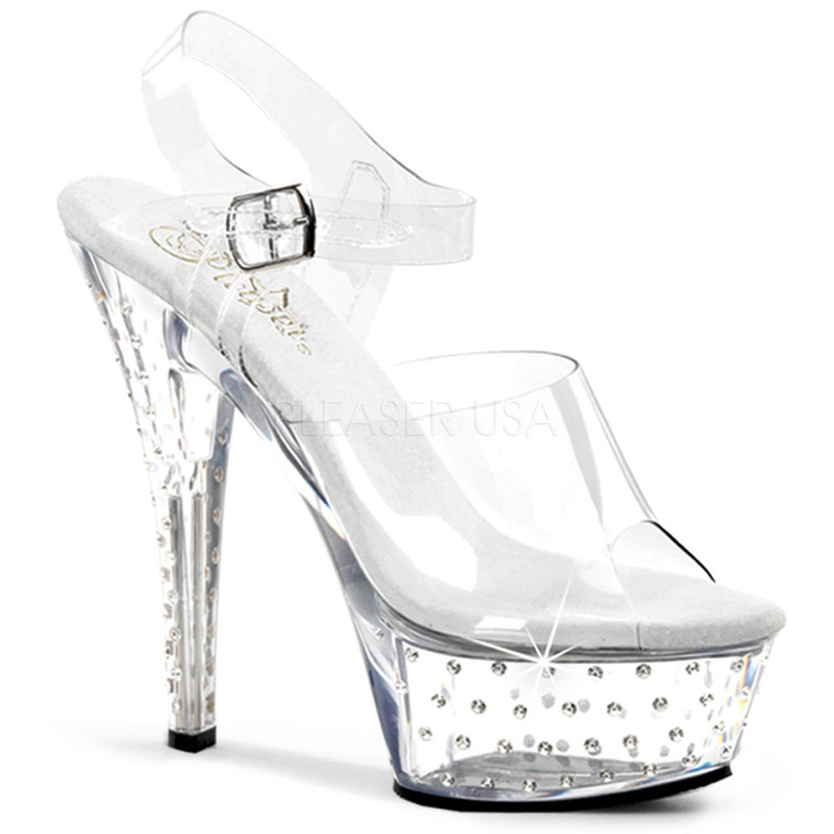 PLEASER STARDUST-608 Clear Platform Sandals - Shoecup.com
