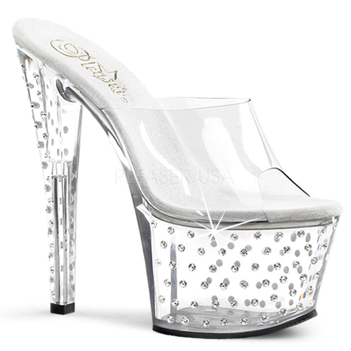 PLEASER STARDUST-701 Clear Platform Slides - Shoecup.com