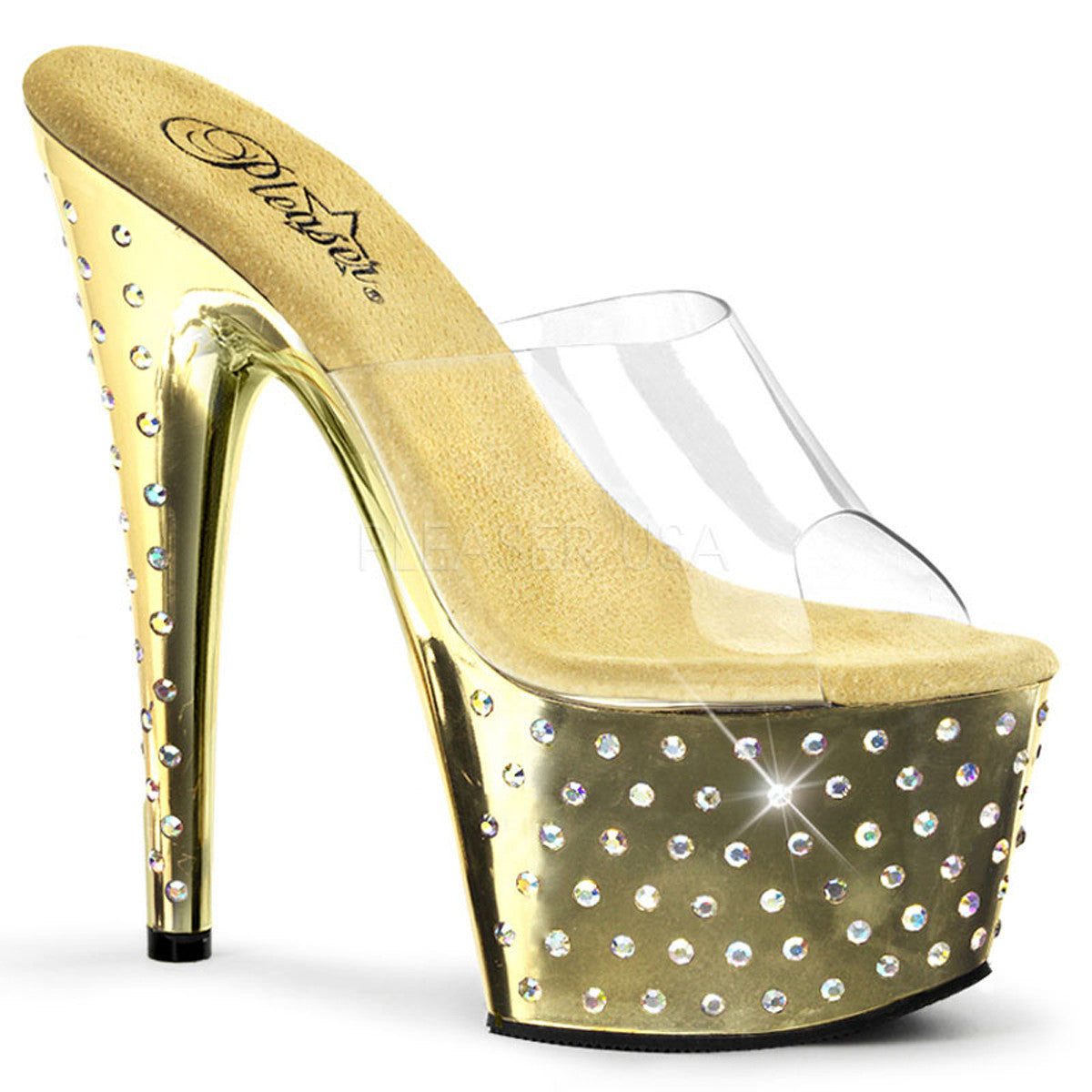 PLEASER STARDUST-701 Clear-Gold Chrome Platform Slides - Shoecup.com