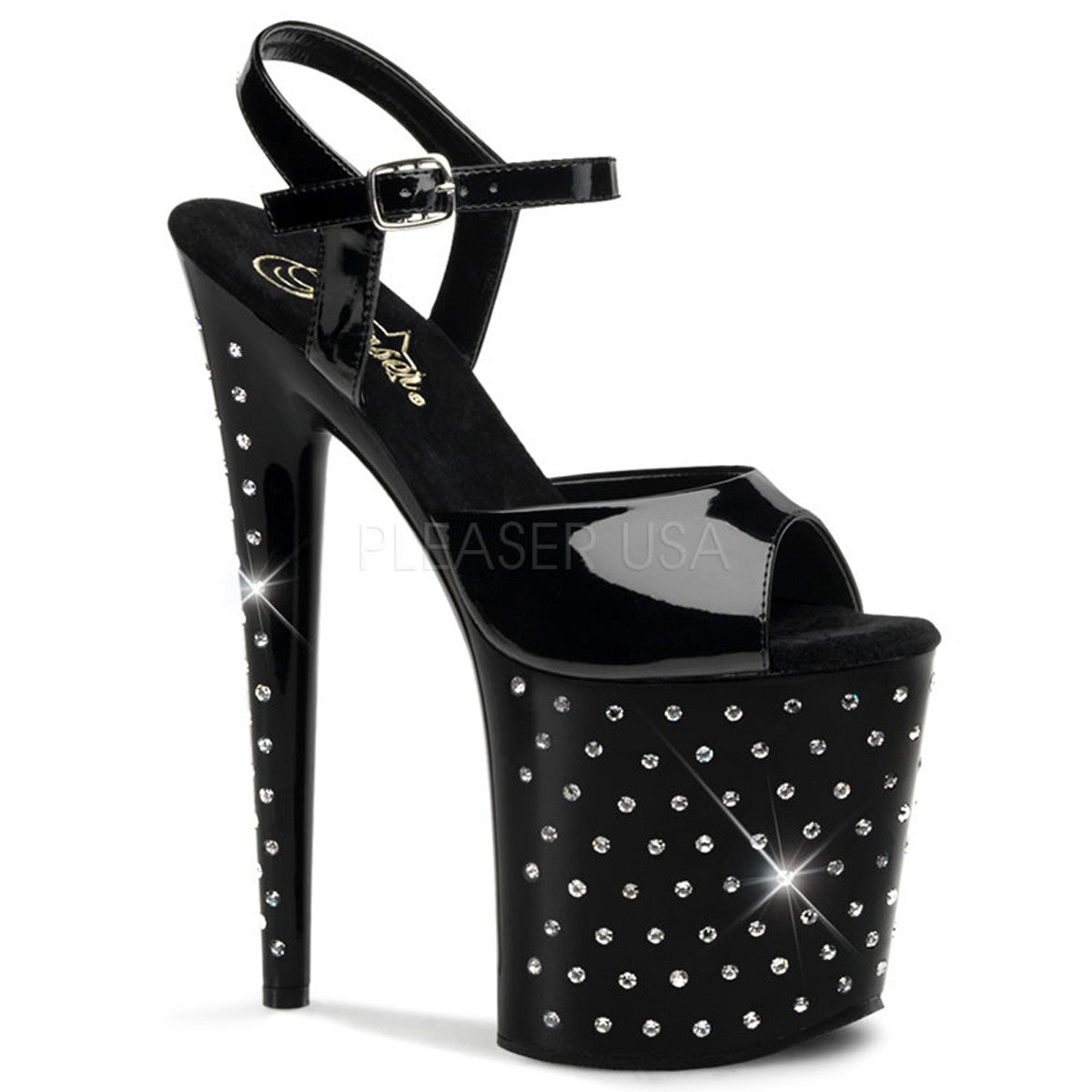 PLEASER STARDUST-809 Black Pat Ankle Strap Sandals - Shoecup.com