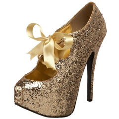Bordello,Bordello TEEZE-10G Gold Glitter Pumps - Shoecup.com
