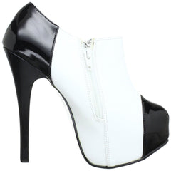 Bordello,Bordello TEEZE-20 White Pu-Black Pat Bootie - Shoecup.com