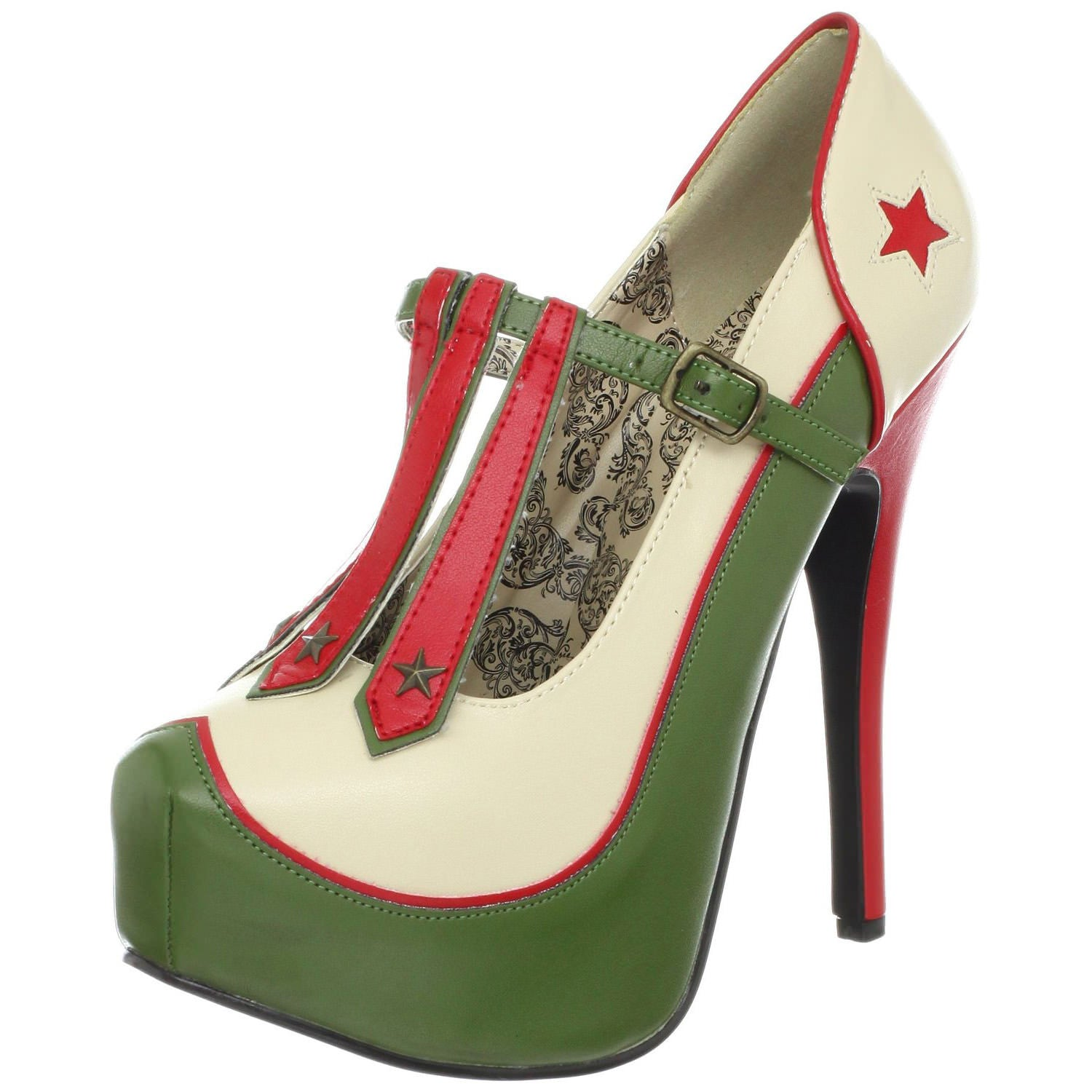 Bordello,Bordello TEEZE-43 Cream-Olive Green Pu Pumps - Shoecup.com