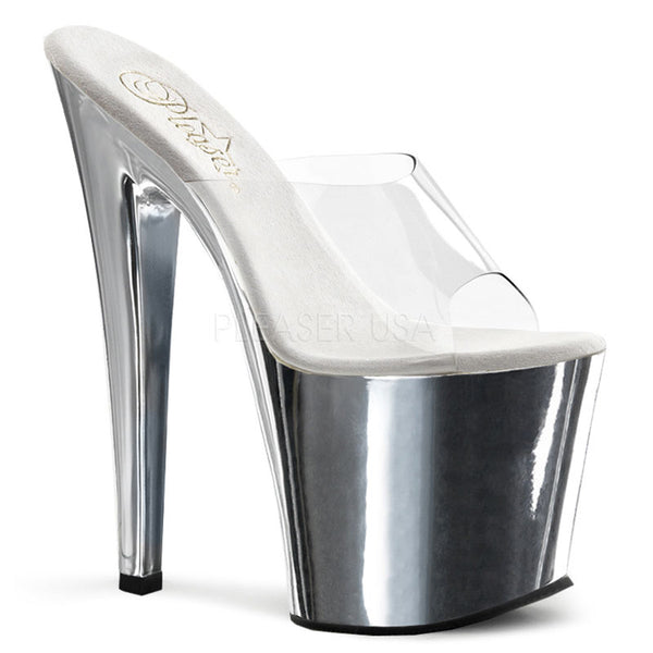 PLEASER TABOO-701 Clear-Silver Chrome Platform Slides - Shoecup.com