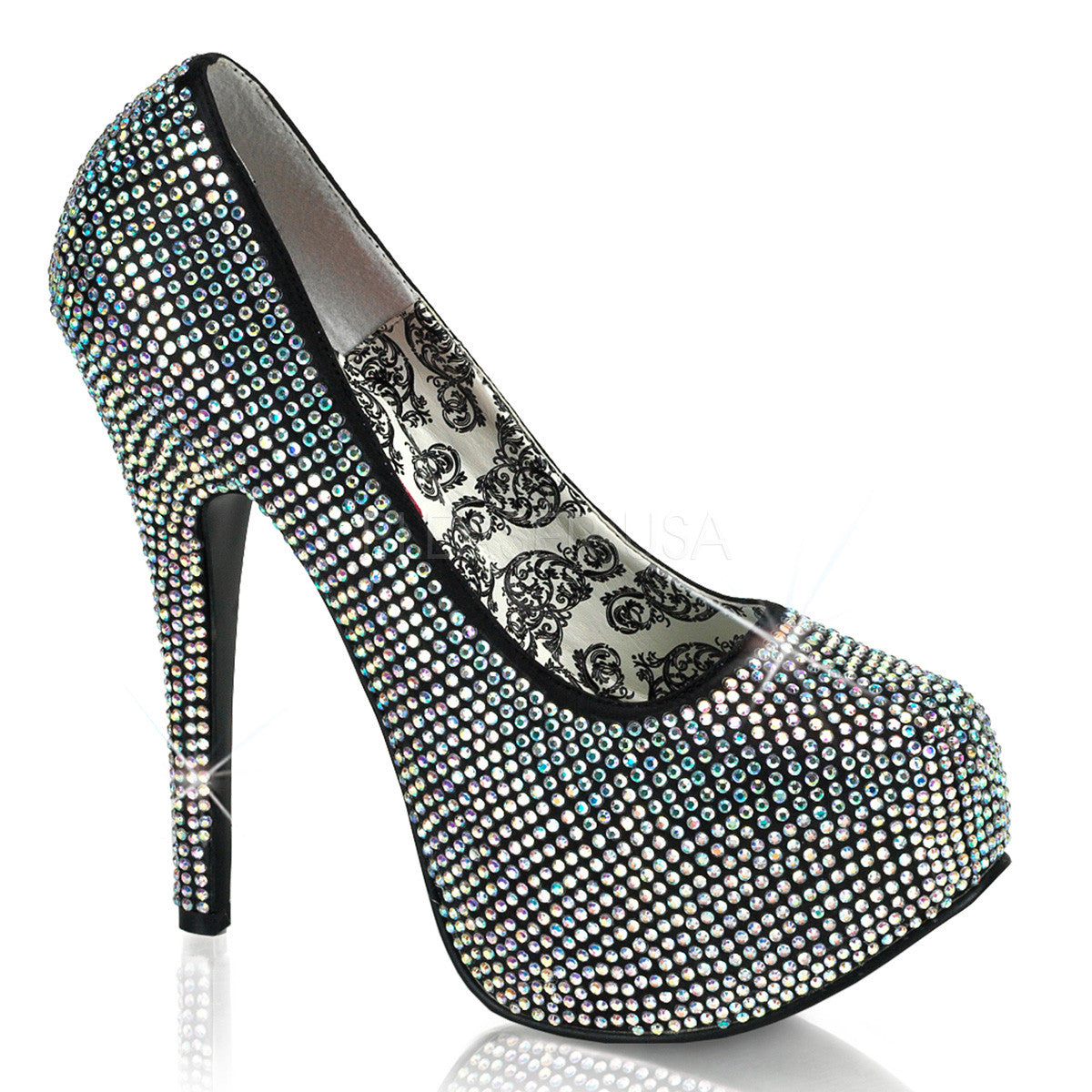 Bordello,Bordello TEEZE-06R Iridescent Rhinestones Pumps - Shoecup.com