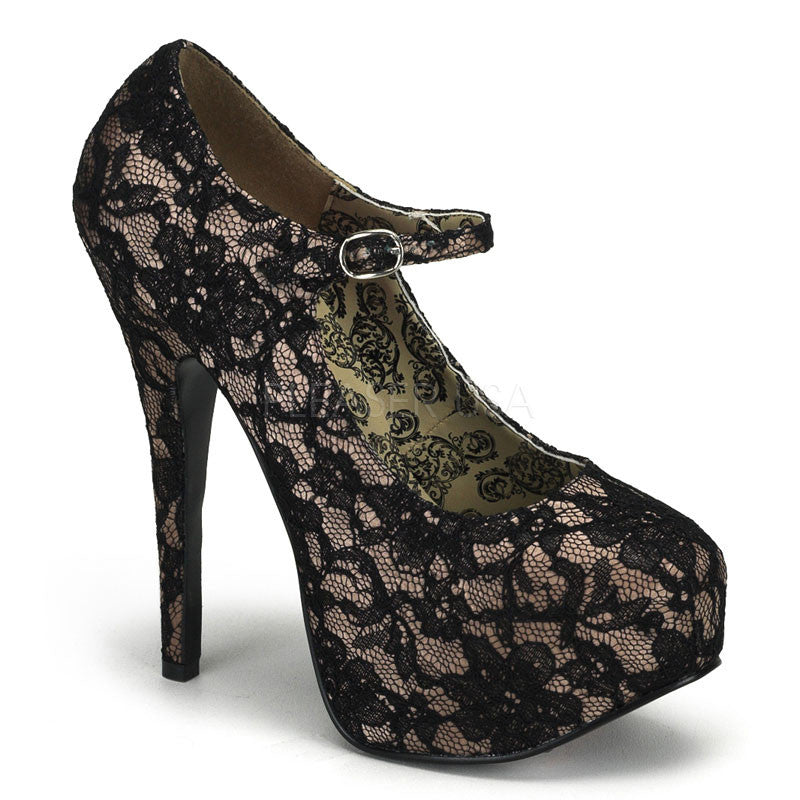 Bordello,Bordello TEEZE-07L Nude Satin-Black Lace Pumps - Shoecup.com