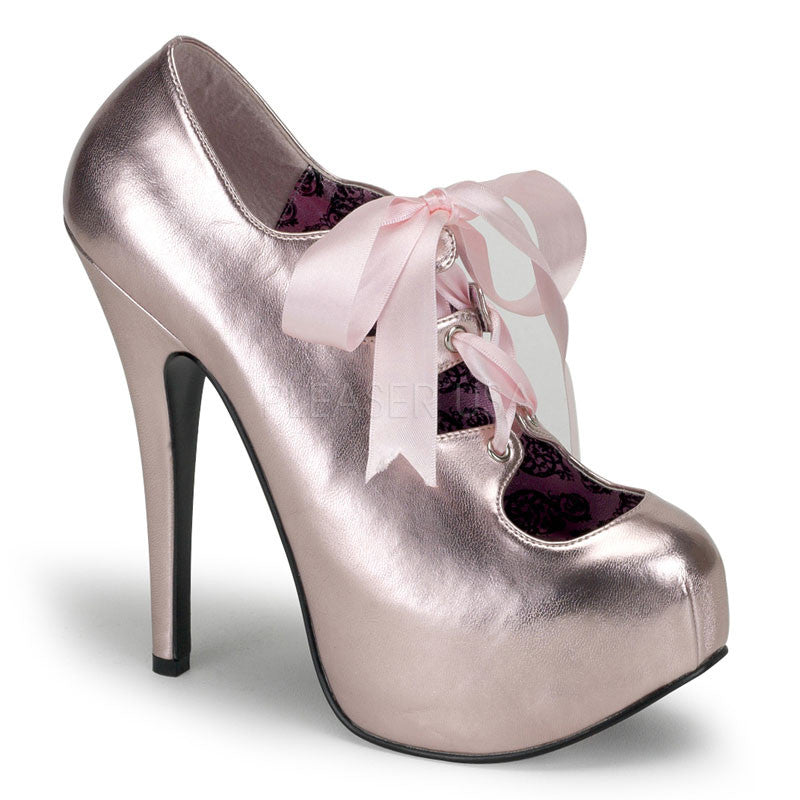 Bordello,Bordello TEEZE-09 Baby Pink Met Pu Pumps - Shoecup.com