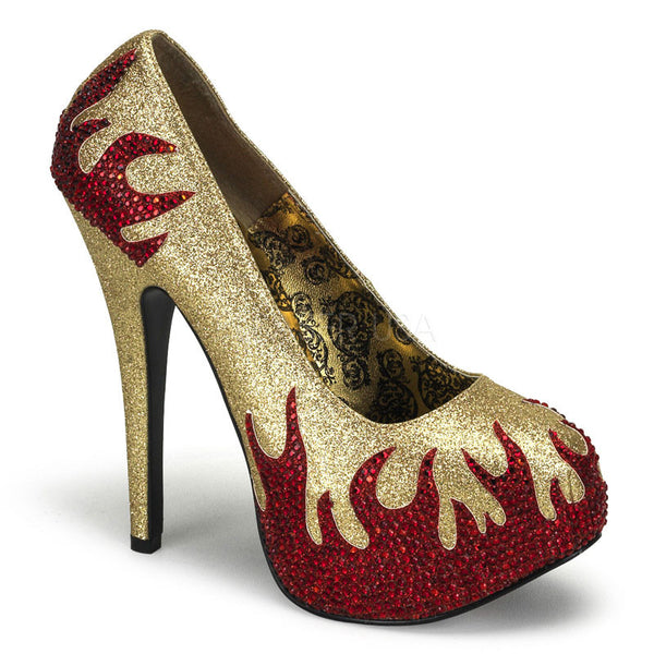 Bordello,Bordello TEEZE-27 Gold Mini Glitter-Red Rstn Pumps - Shoecup.com