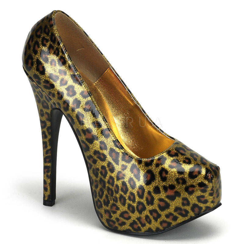 Bordello,Bordello TEEZE-37 Gold Cheetah Pat Pumps - Shoecup.com